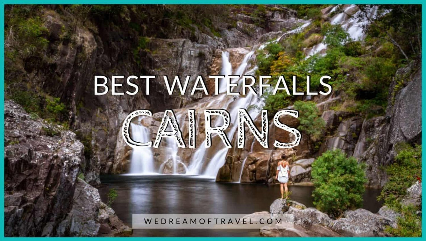Blog post cover image of a Cairns waterfall with text overlay
