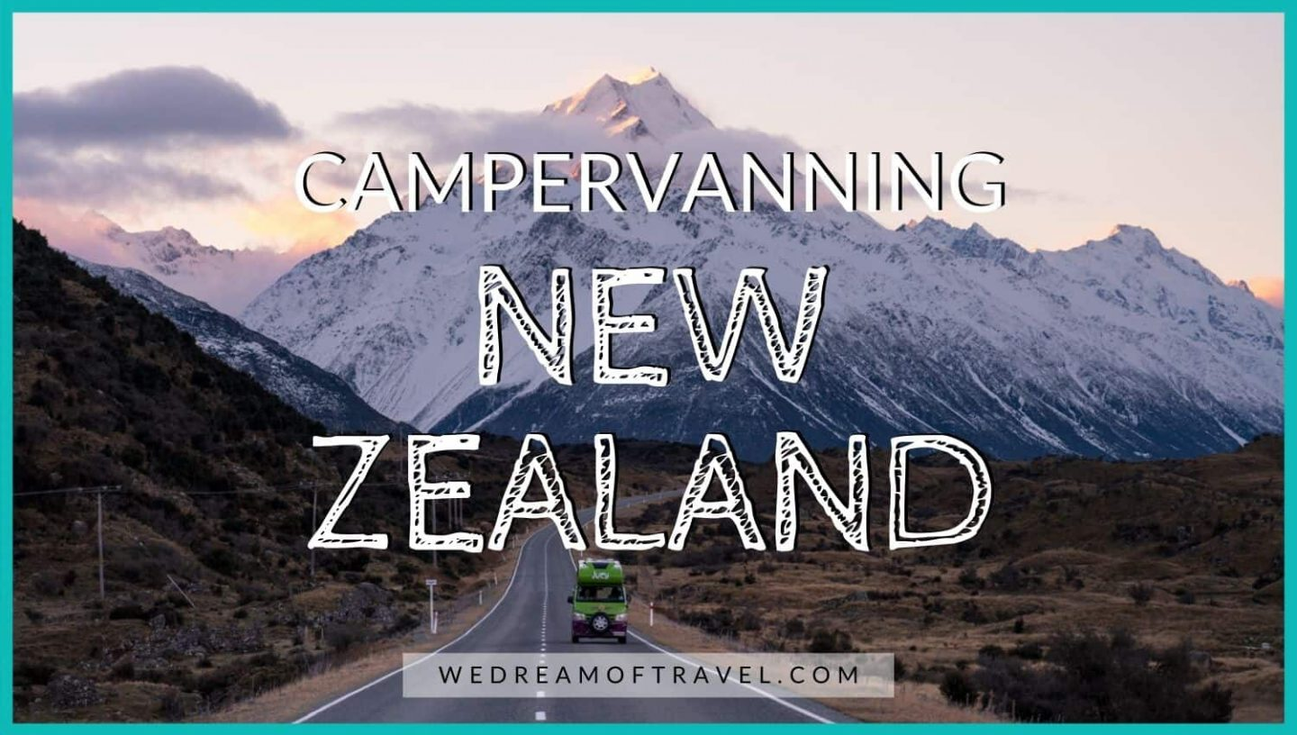 Blog cover graphic for campervanning New Zealand.  An image of traveling NZ by campervan on the road to Mt Cook.
