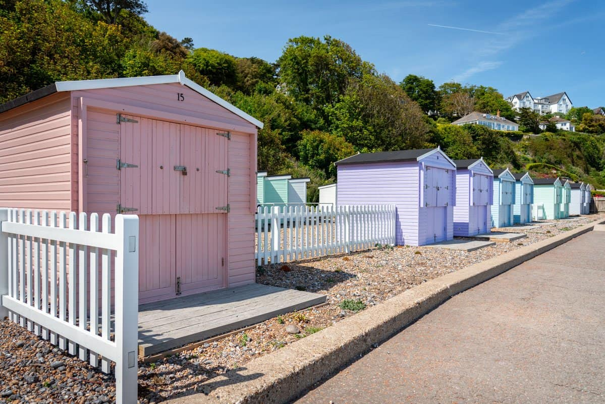 Colourful beach huts at St Margarets Bay Beach.
