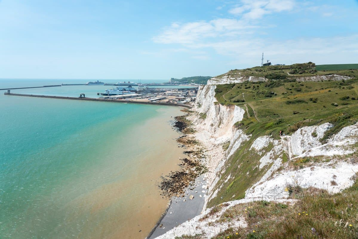 Looking back towards Dover Port from the White Cliffs of Dover walk