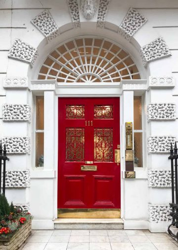 A beautiful entranceway to one of the many clinics on Harley Street, the most famous street in London for medical care.