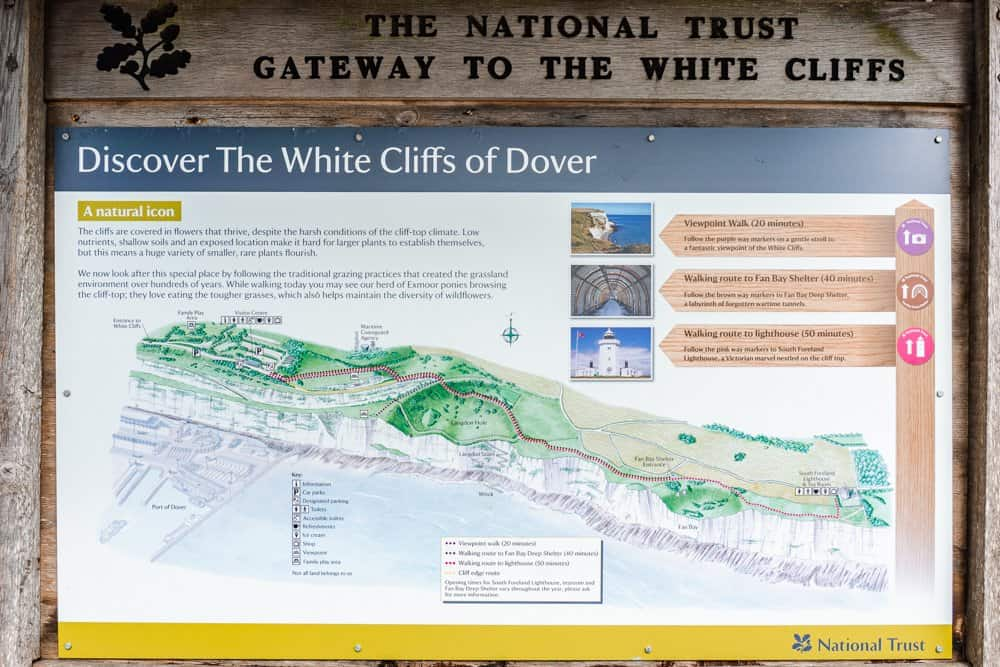 An informative sign by the National Trust located at the visitor centre at the White Cliffs of Dover