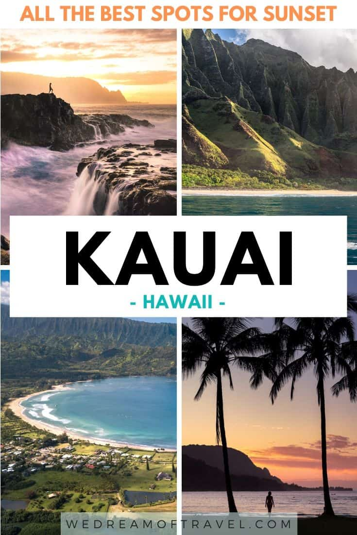 Discover all the best places to watch sunset in Kauai.  From beautiful beaches to rugged coastline, lava rock and palm trees, the Garden Isle has some of the best sunsets in Hawaii. #Kauai #Hawaii #USA #Sunsets #Travel