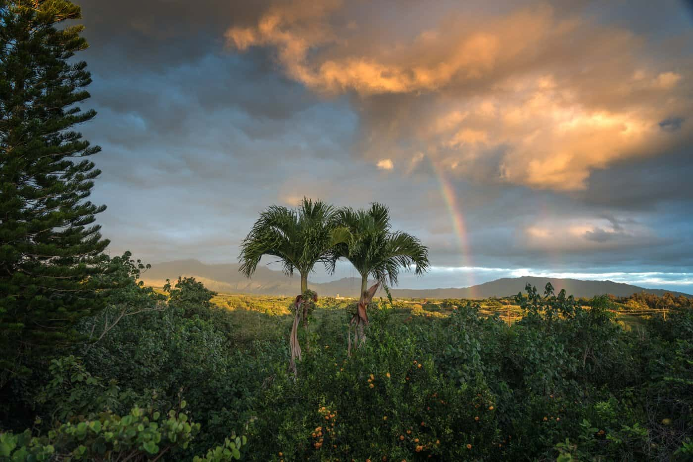 A rainbow graces the landscape for our final sunset in Kauai.