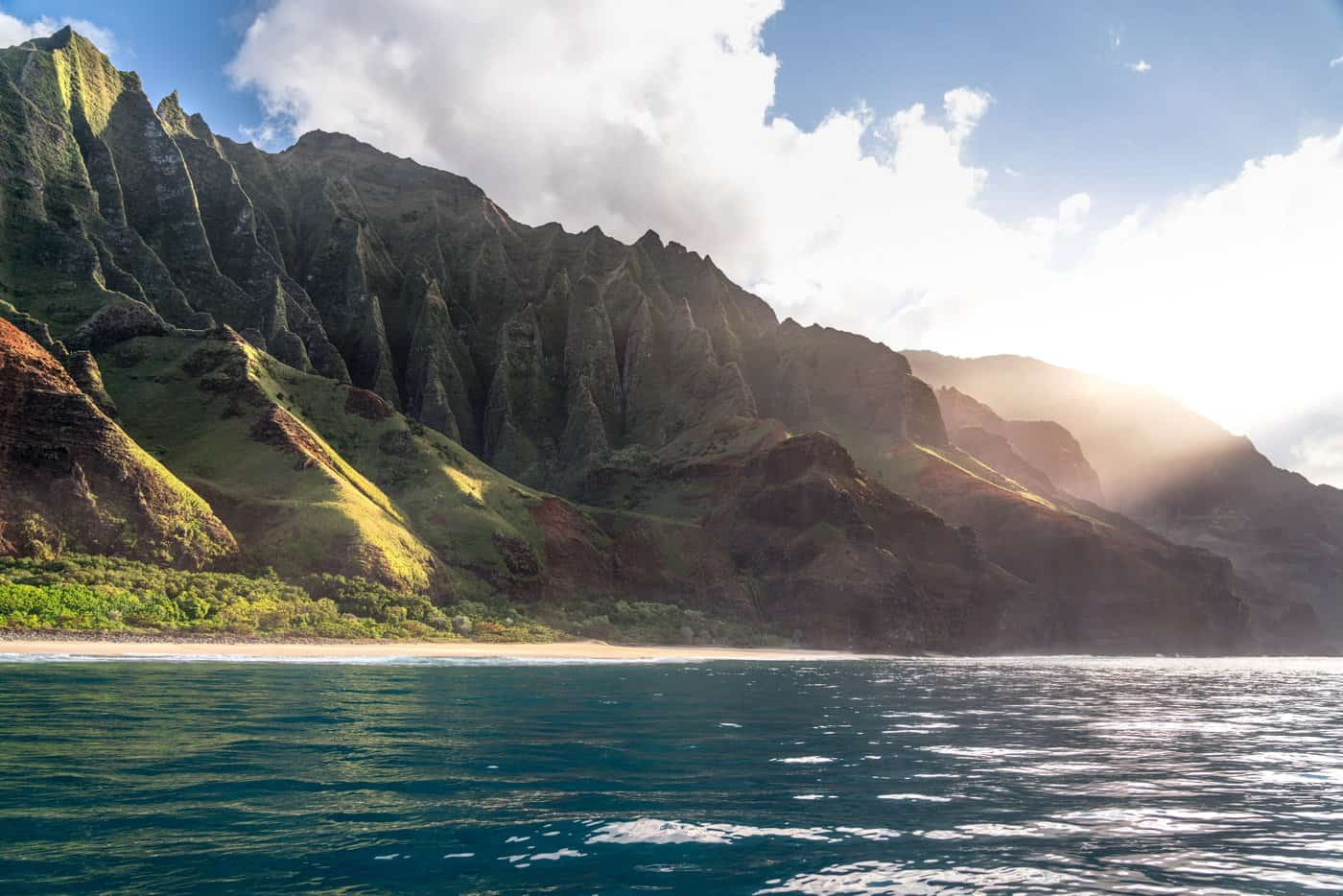 The Napali Coast is the best place to photograph sunset in Kauai.