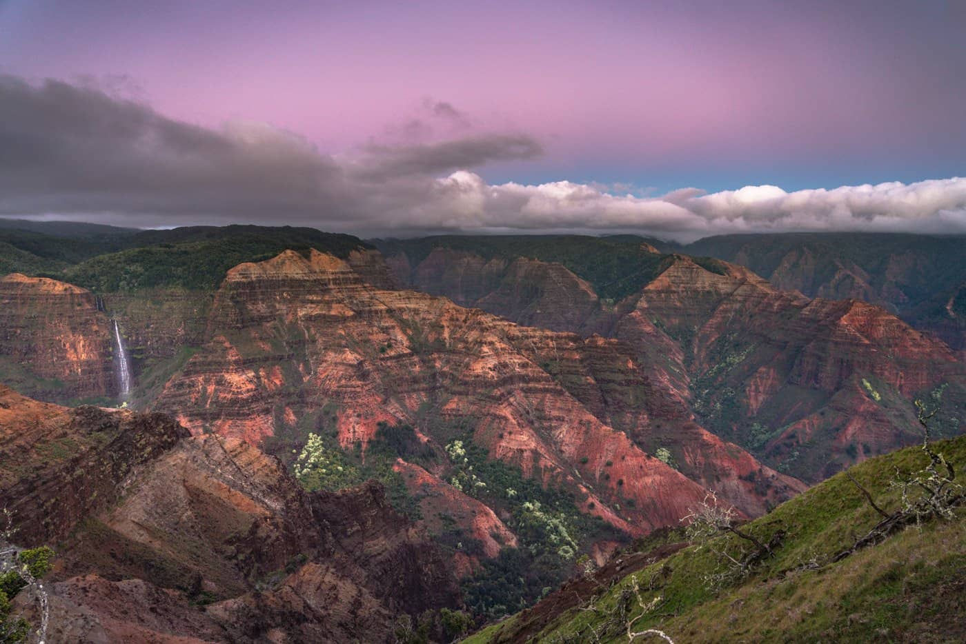 Purple skies grace Waimea Canyon just minutes after another incredible Kauai sunset.