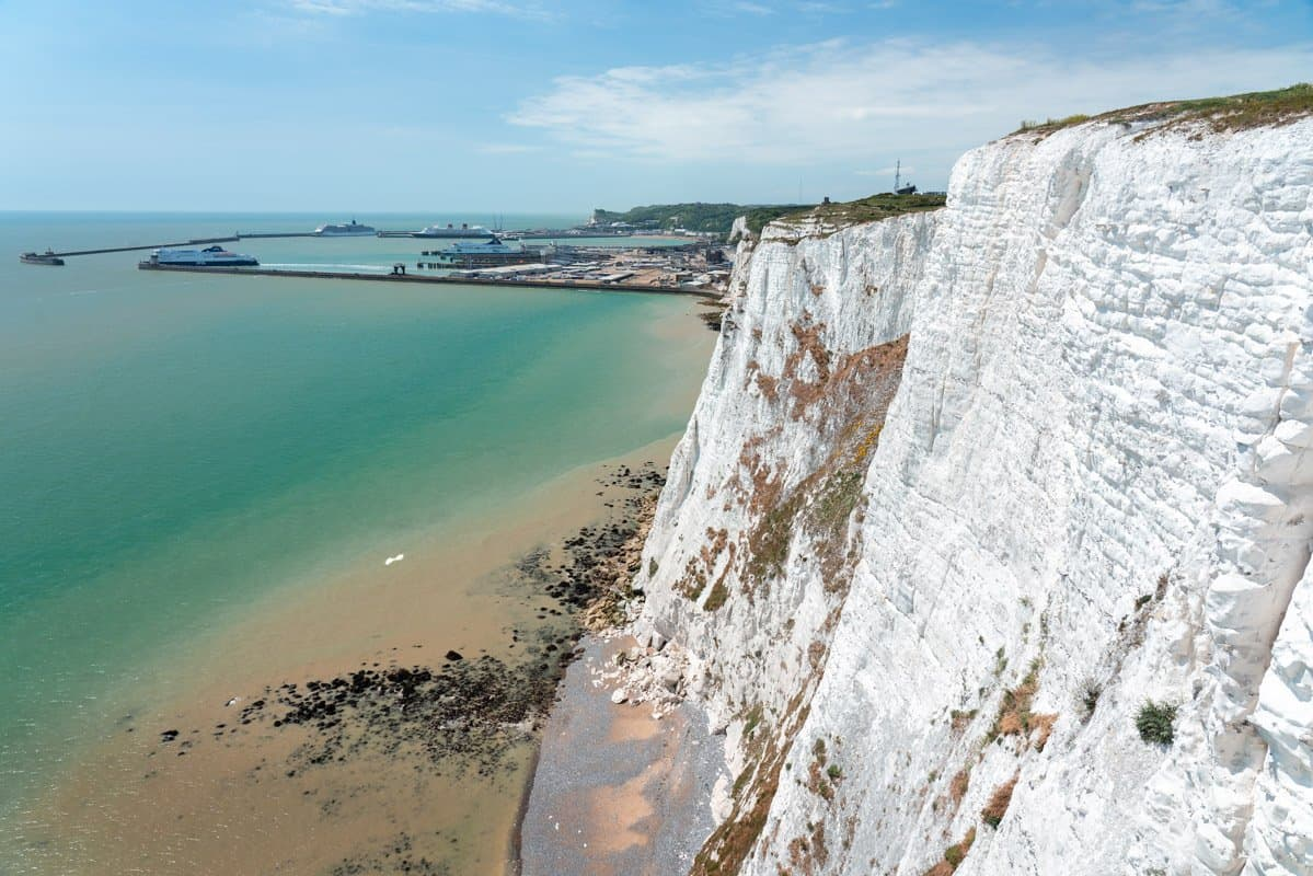 Looking back towards Dover Port from atop the White Cliffs.