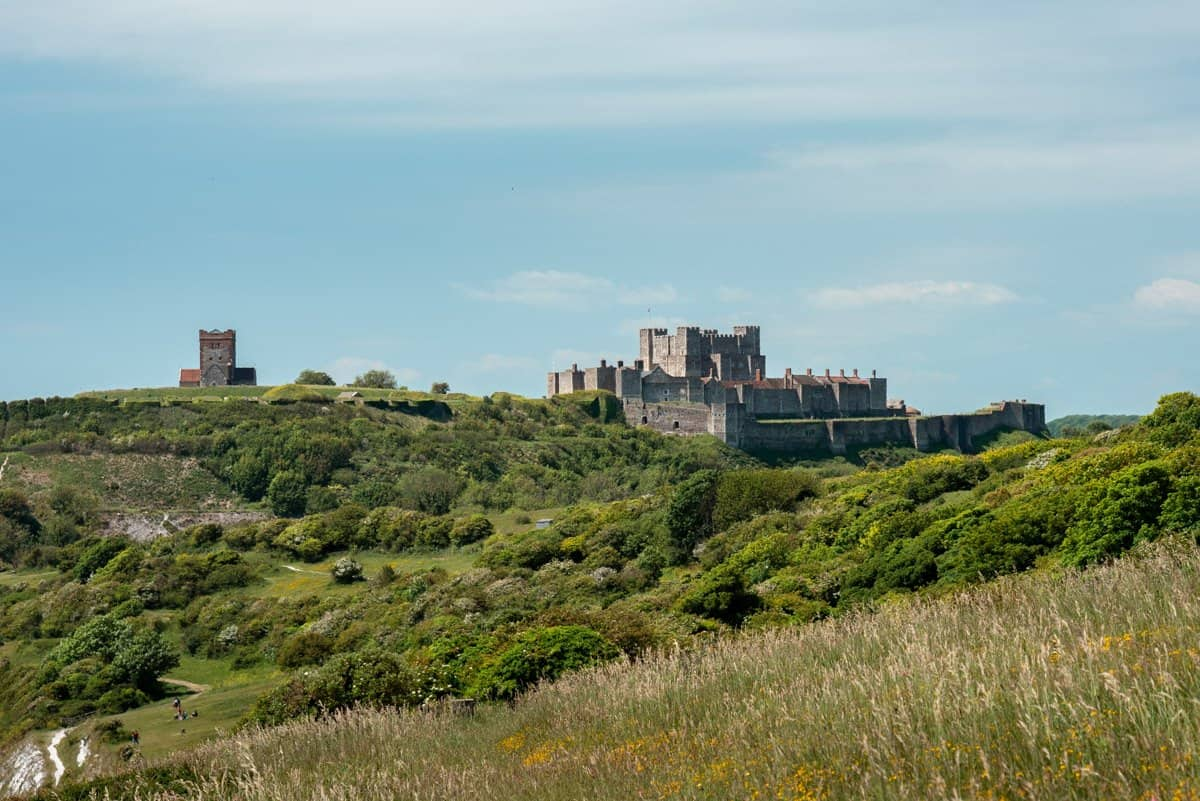 Dover Castle as seen from the White Cliffs of Dover, not to be missed on a day trip from London.