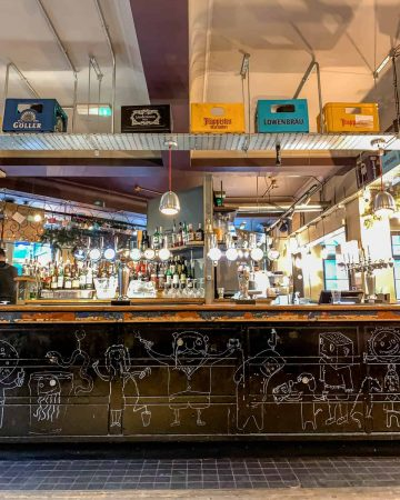 Inside of a bar on the Bermondsey Beer Mile