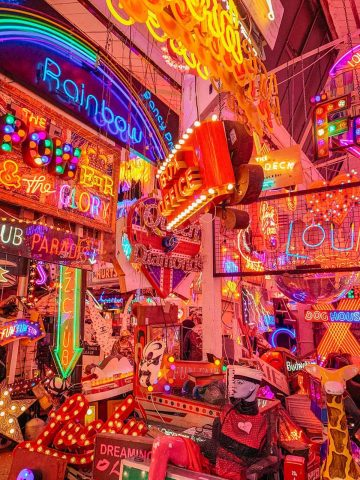 Thousands of colourful neon signs await you at the quirky Gods Own Junkyard.