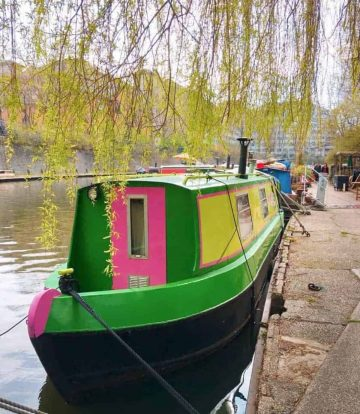 Colourful canal boats in Little Venice - one of the best non touristy places in London.