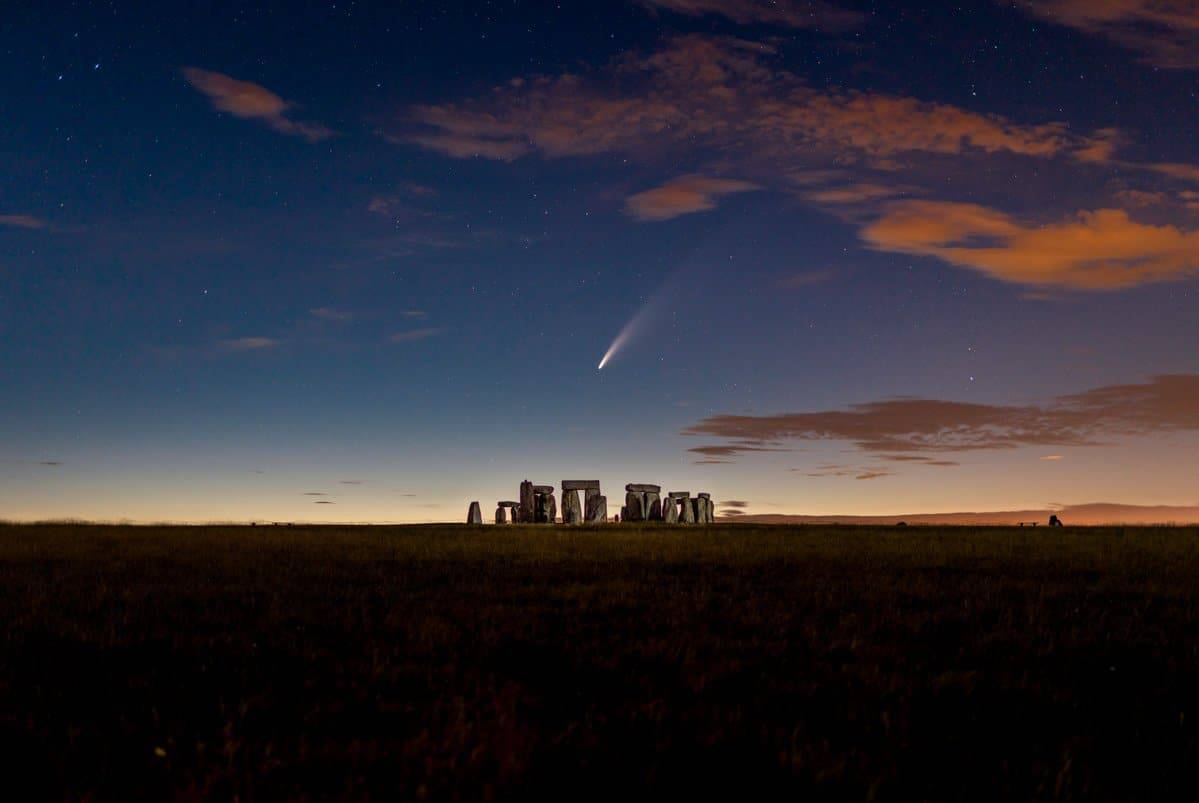 Photographing Neowise Comet above Stonehenge.