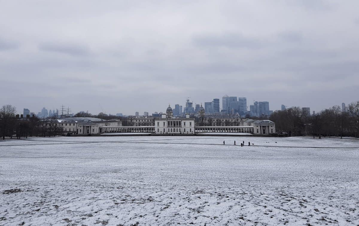 Greenwich Park covered in snow during the winter, one of the best non-touristy things to do in London
