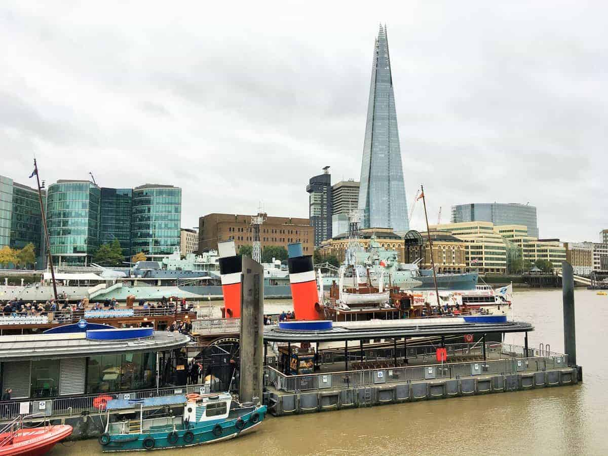 The Paddle Steamer Waverley at Tower Pier with the Shard in the background