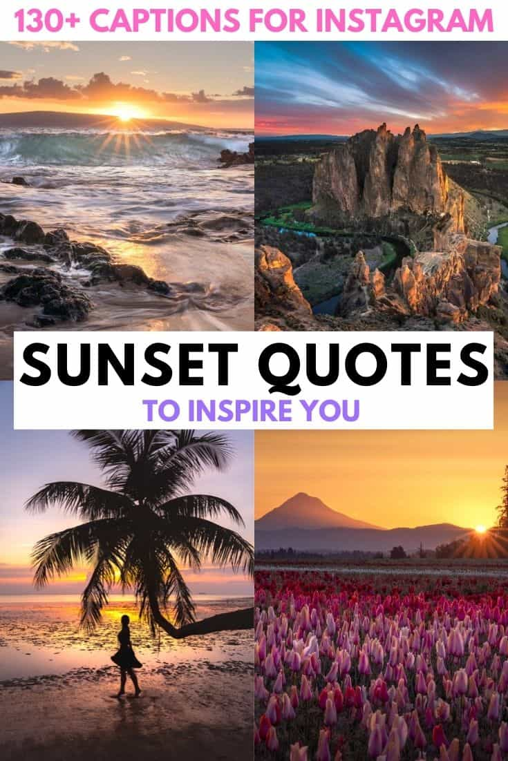 130+ of the best sunset captions for Instagram.  Funny, cute, short, inspiration and original sunset quotes for Instagram.  sunset captions for instagram | short sunset captions | sunset captions for instagram short | sunset captions for instagram cute | sunset captions for instagram beach | sunset captions for instagram words | sunset captions for instagram inspiration | sunset captions for instagram posts | sunset captions photography | sunset quotes instagram caption