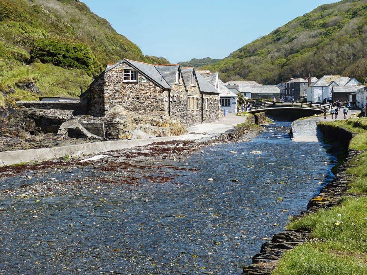 Houses align the river in Boscastle village, Cornwall