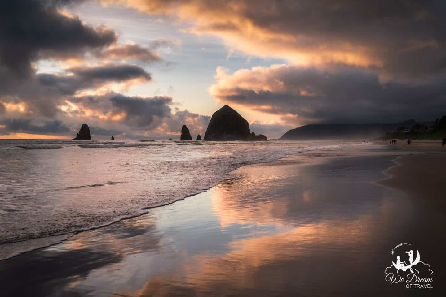 The famous Haystack Rock at sunset on Cannon Beach