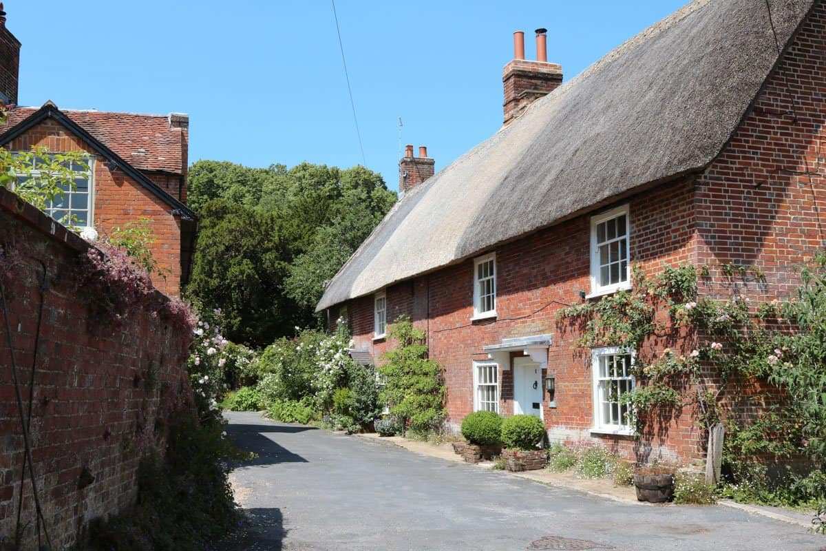 Thatched houses in the rural English village of Cranborne.