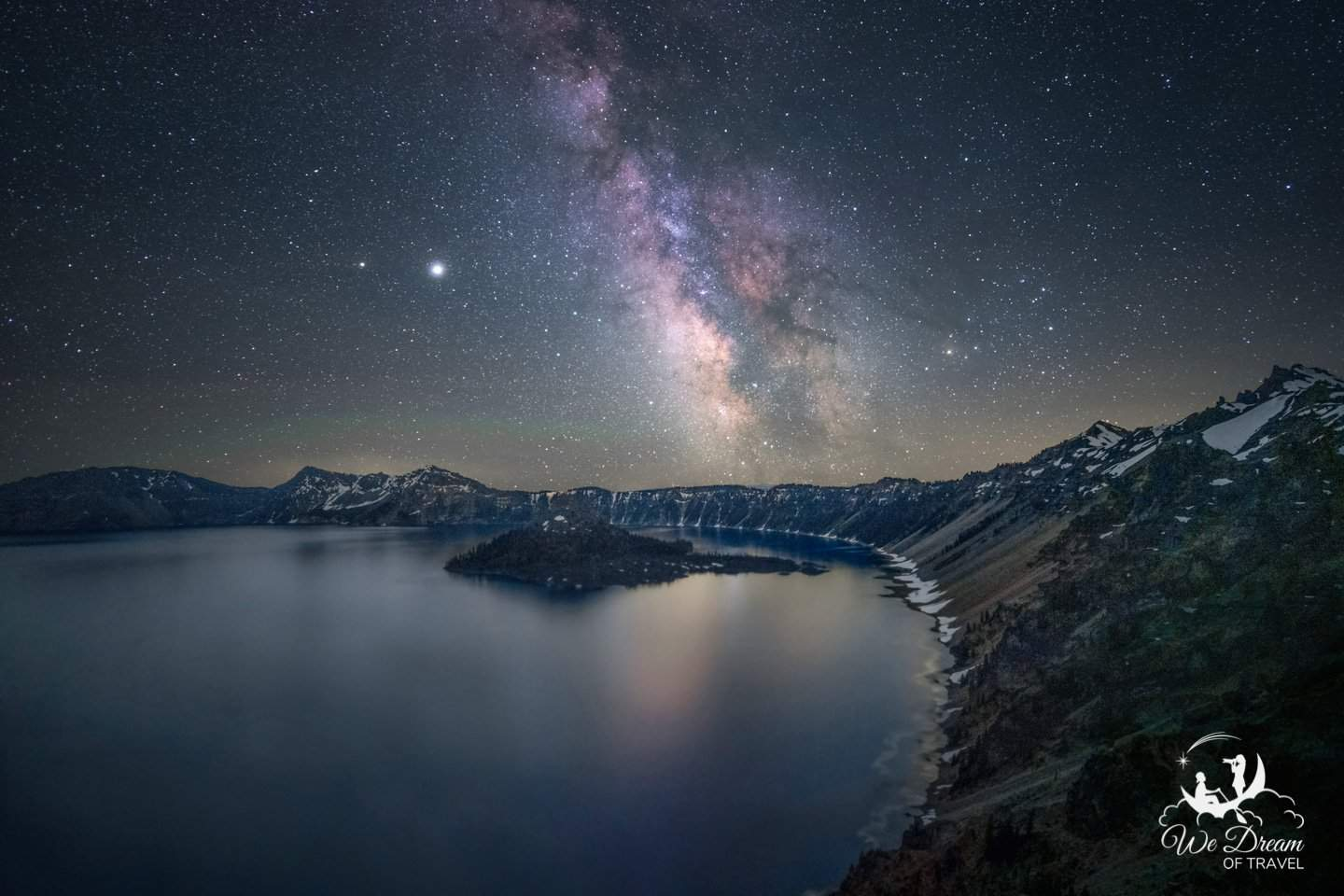 The most photographed place to visit in Oregon for Milky Way photography is Crater Lake.