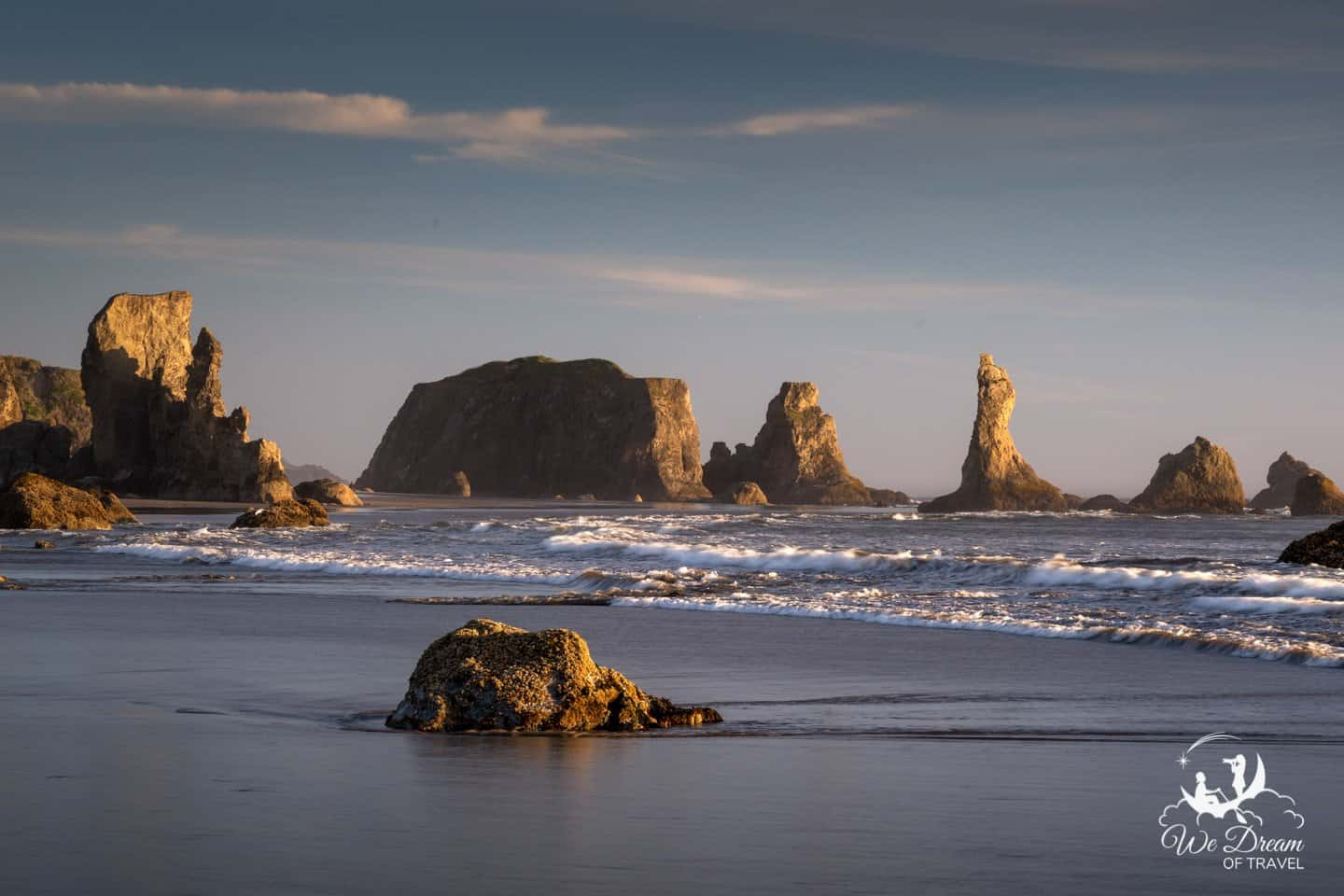 Golden hour Oregon coast photography in Bandon