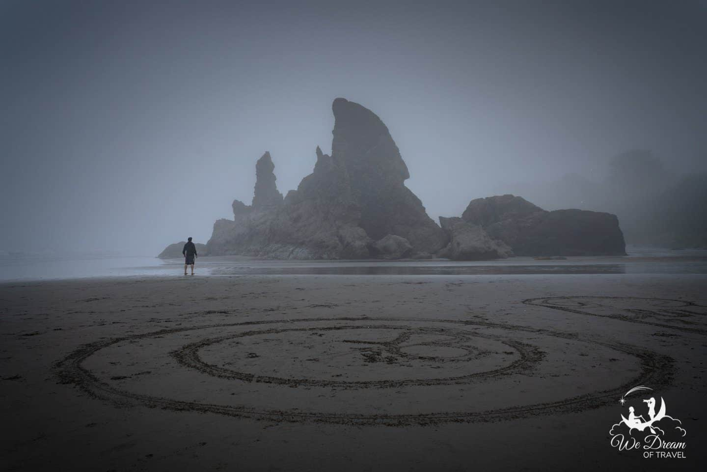 Sand art gives this moody photograph an otherworldly feel