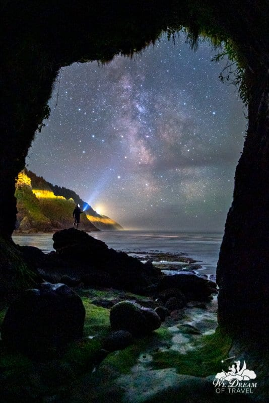 Milky Way photography from Heceta Head sea caves on the Oregon coast