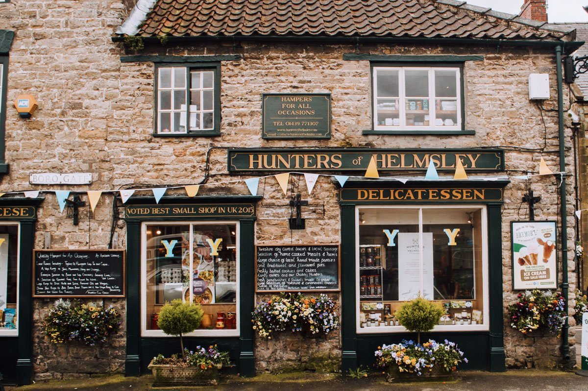Hunters of Helmsley shop front in one of the prettiest English villages.