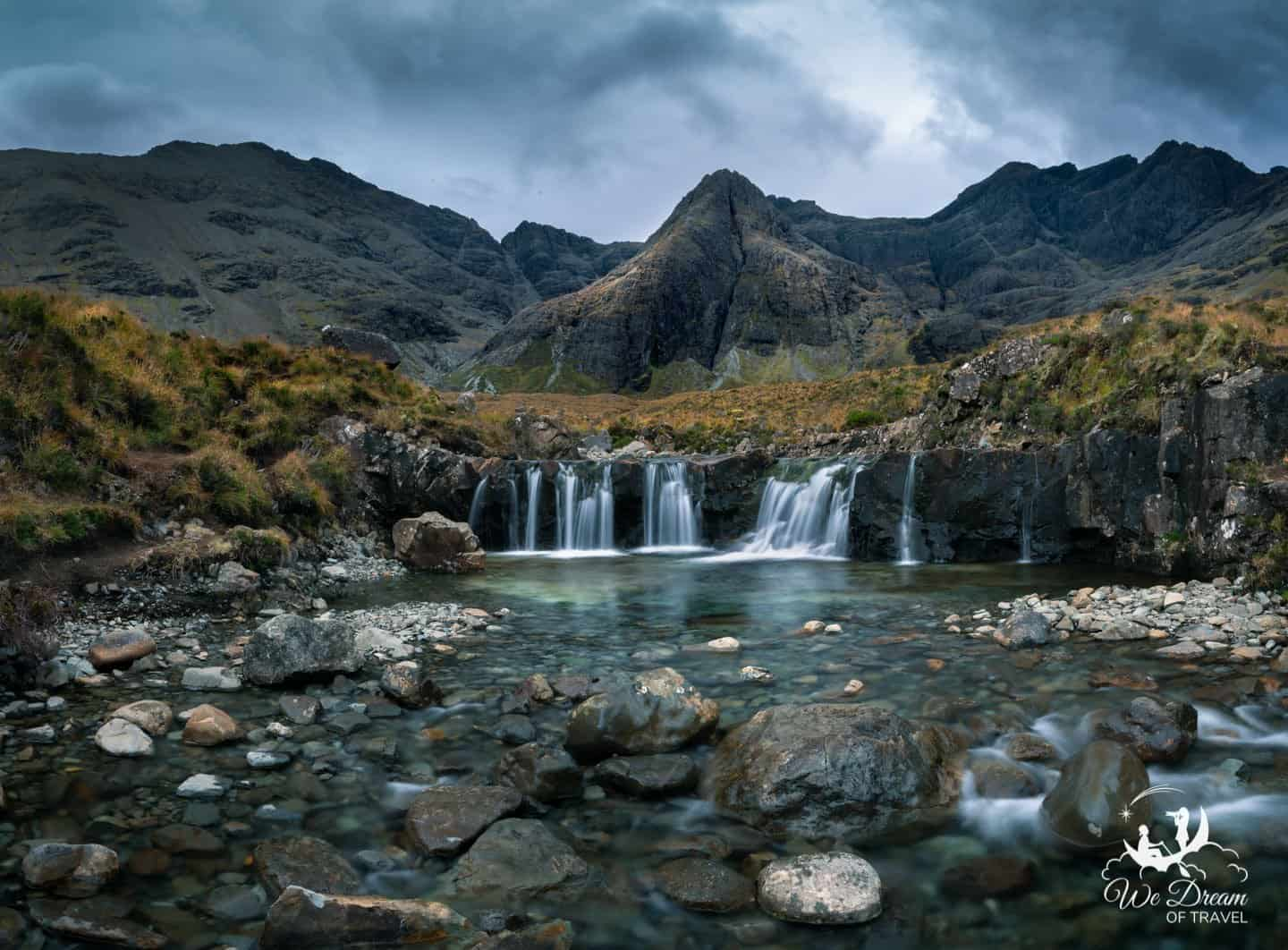 The Fairy Pools walk is one of the most popular hikes for Isle of Skye photography.  Grab your ND and follow a tumbling, emerald-green stream toward the Black Cuillin Mountain.