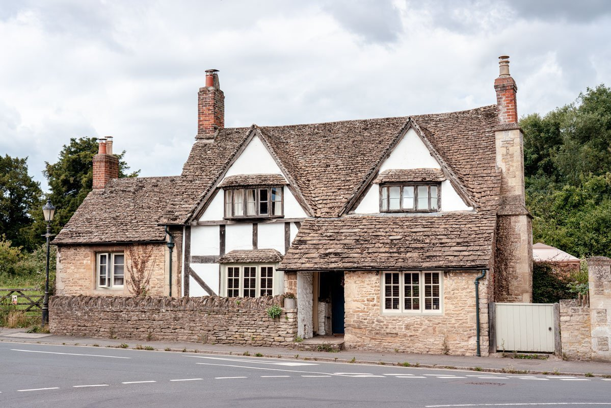 A halt-timbered house in the beautiful English village Lacock.