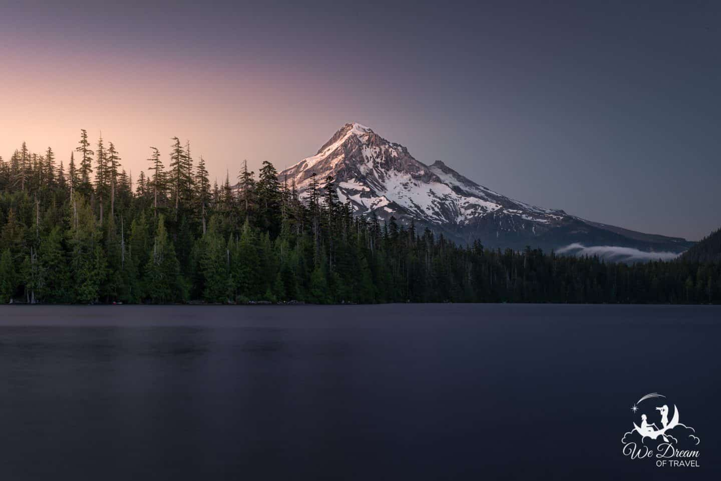 Sunrise on Mt Hood photographed from Lost Lake