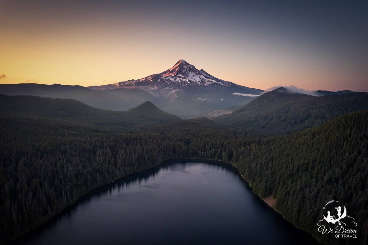 Aerial drone photography of sunrise at Mt Hood from Lost Lake