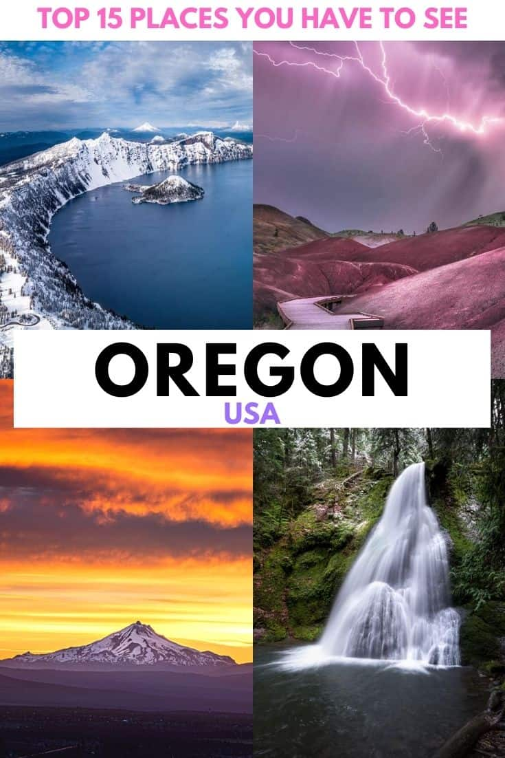 Oregon bucket list places that you really need to visit.  The 15 best natural places to visit in Oregon, from breathtaking coastline to the deepest lake in the US, sweeping deserts, majestic mountains and crashing waterfalls... Oregon truly has it all! #Oregon #USA #PacificNorthWest #PNW #Photography #Travel