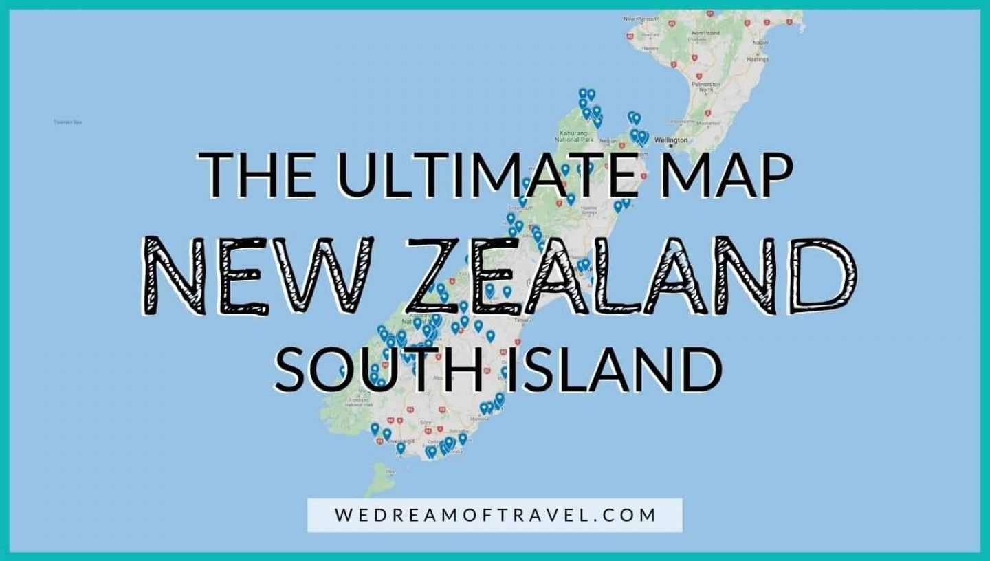 The ULTIMATE South Island New Zealand Map.  All the best points of interest on the South Island of NZ.
