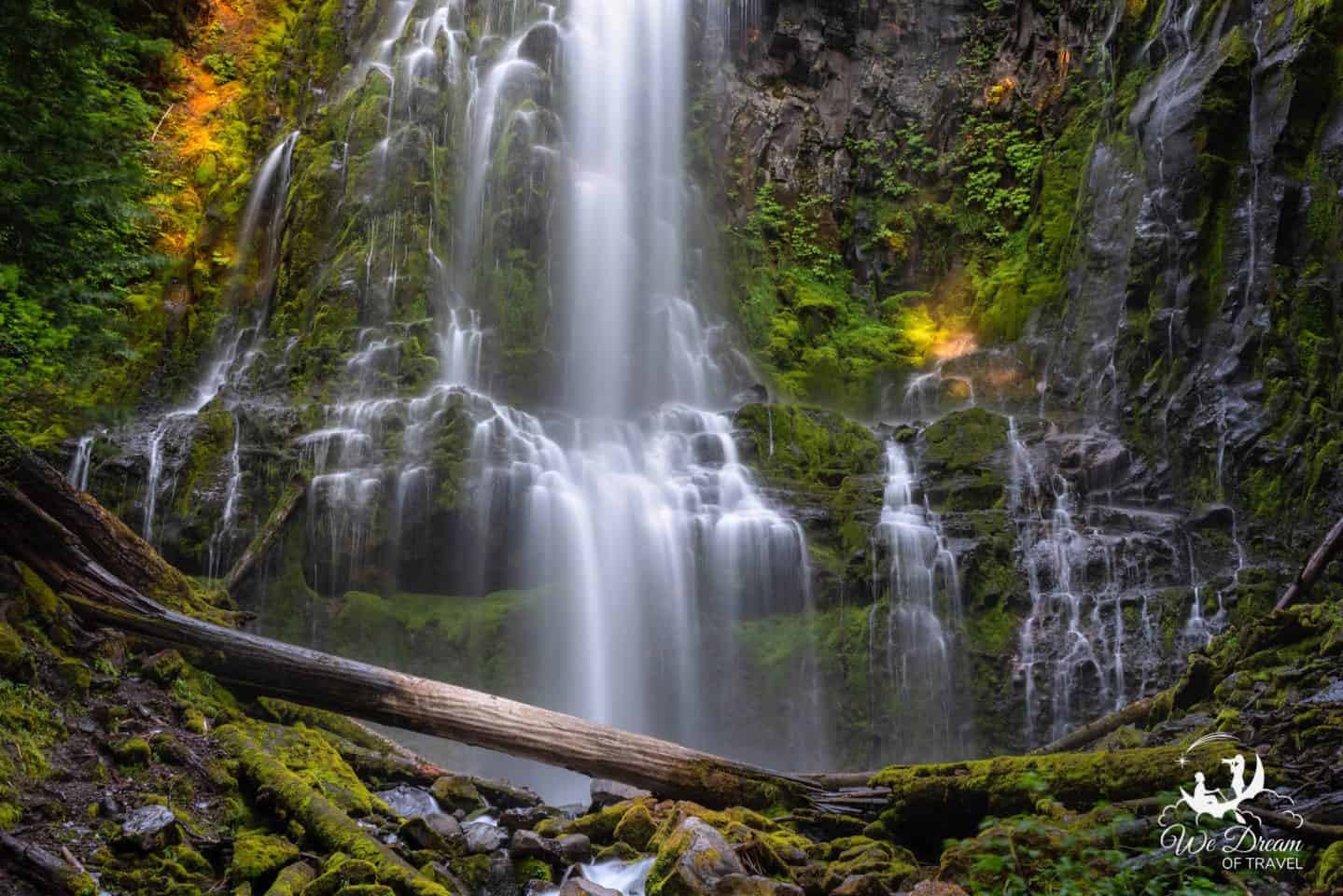 Wide angle view of Proxy Falls on the Mckenzie Pass in Oregon