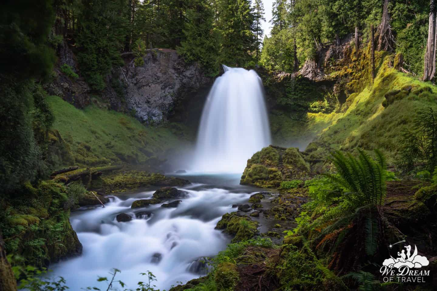 Sahalie Falls is the largest waterfall by volume along the Mackenzie Pass.