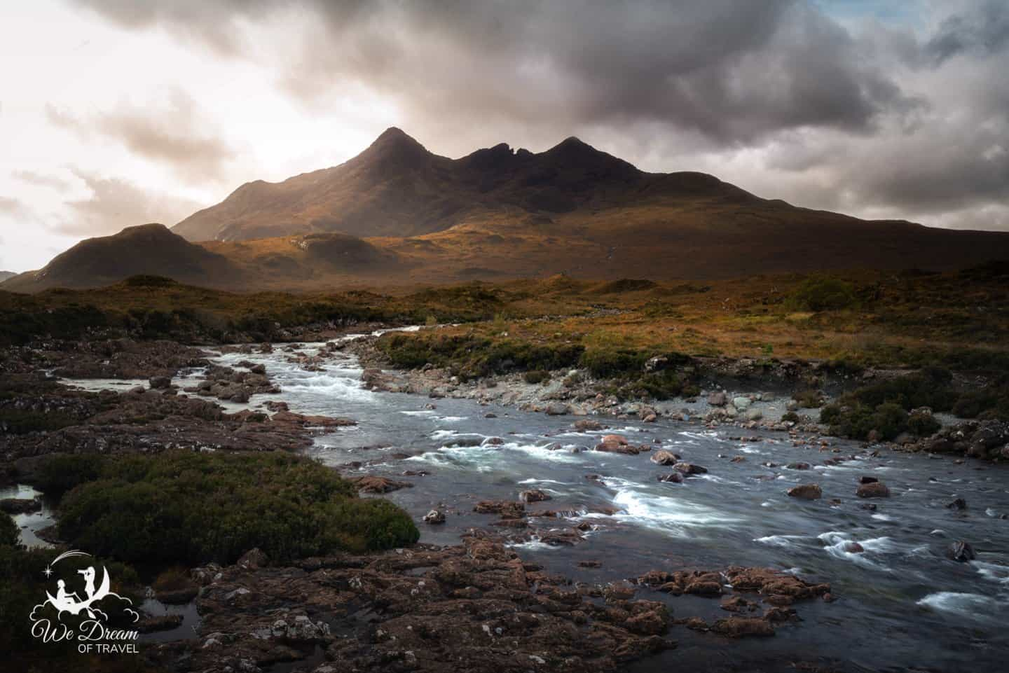 The black Cuillin Hills add a sense of drama to a moody day of photography in Sligachan.