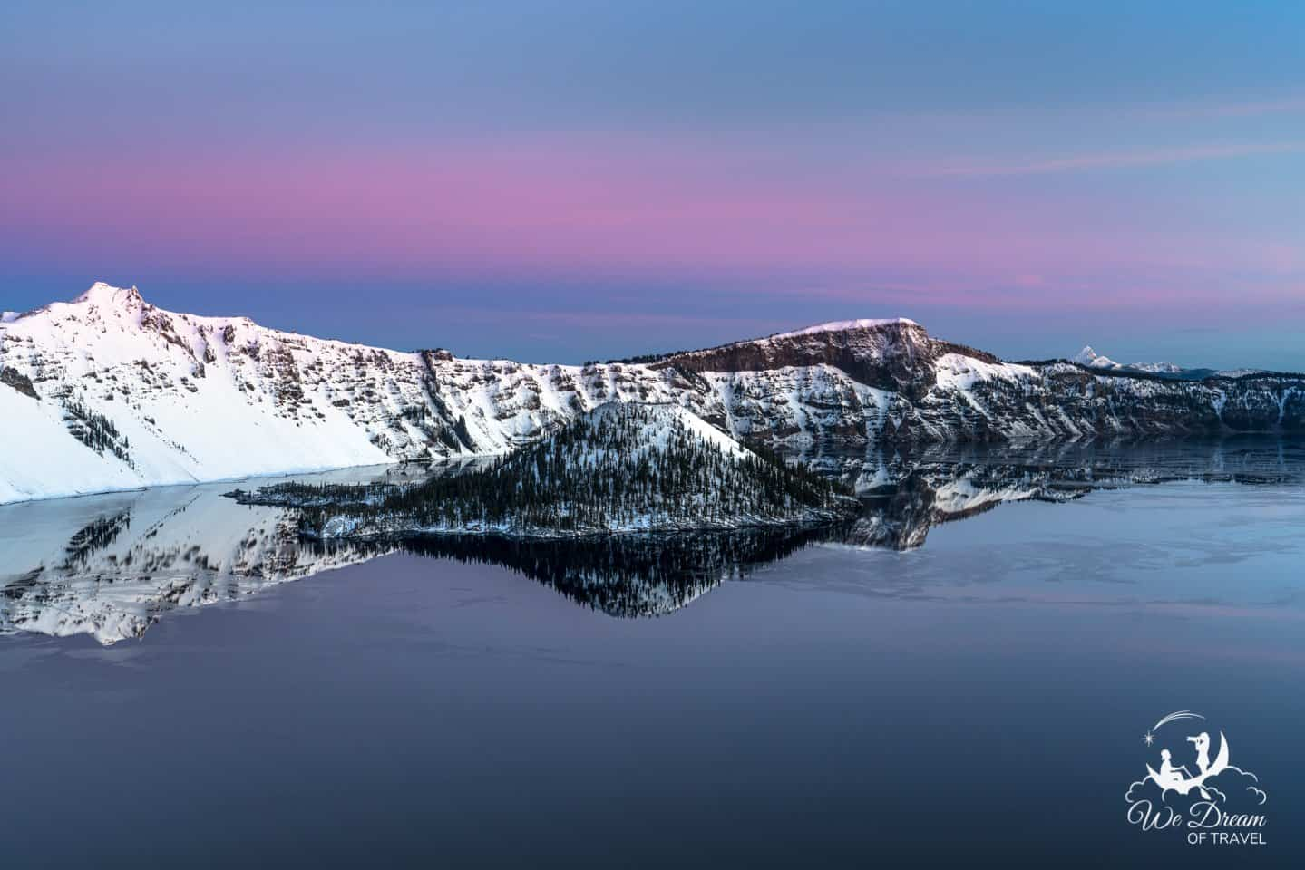 Blue hour photography on a winter visit to Crater Lake National Park