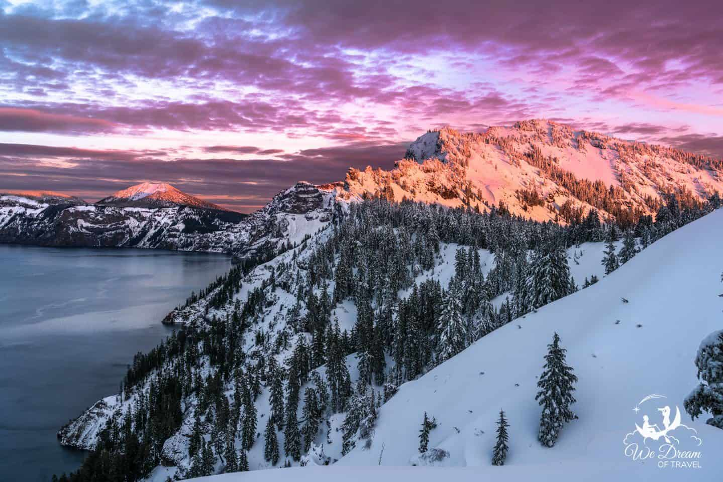 Crazy sunset on a visit to Crater Lake in ORegon