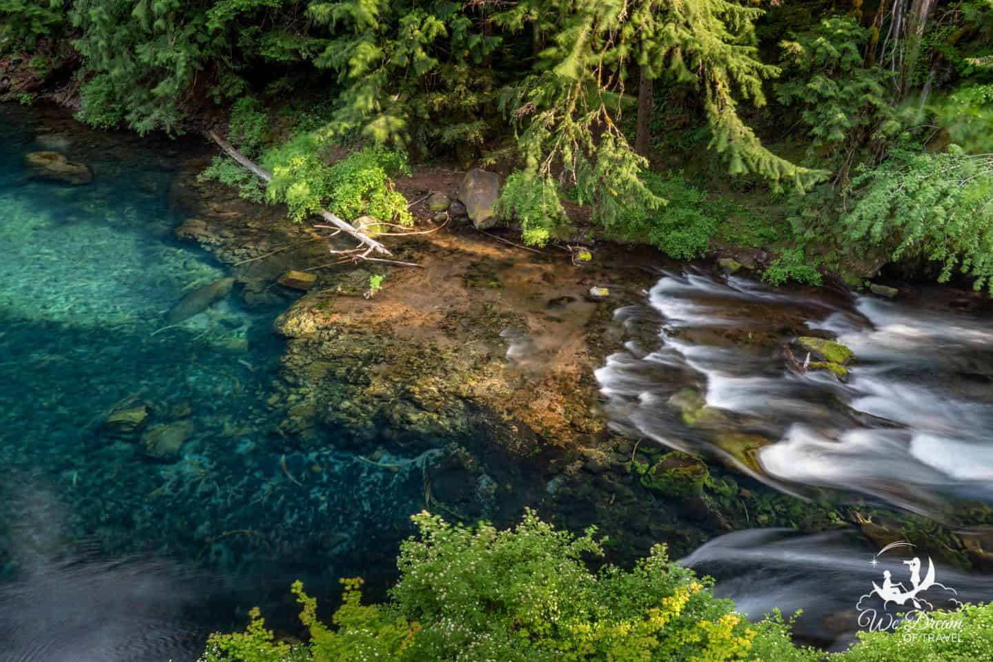 An aerial view of the famous Tamolitch Blue Pools of Oregon