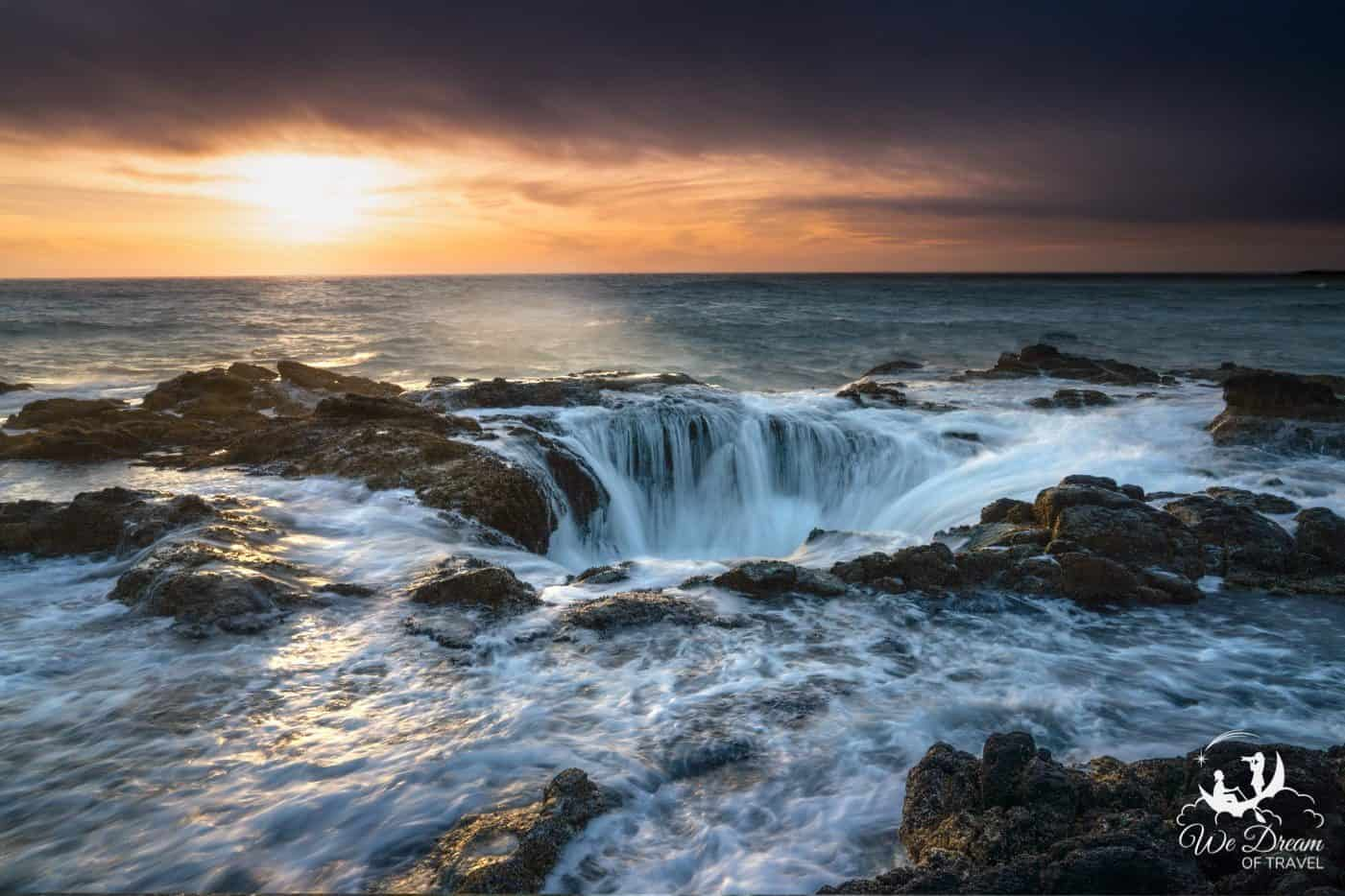 Dramatic sunset photography of the incredible Thors Well seascape in Oregon.