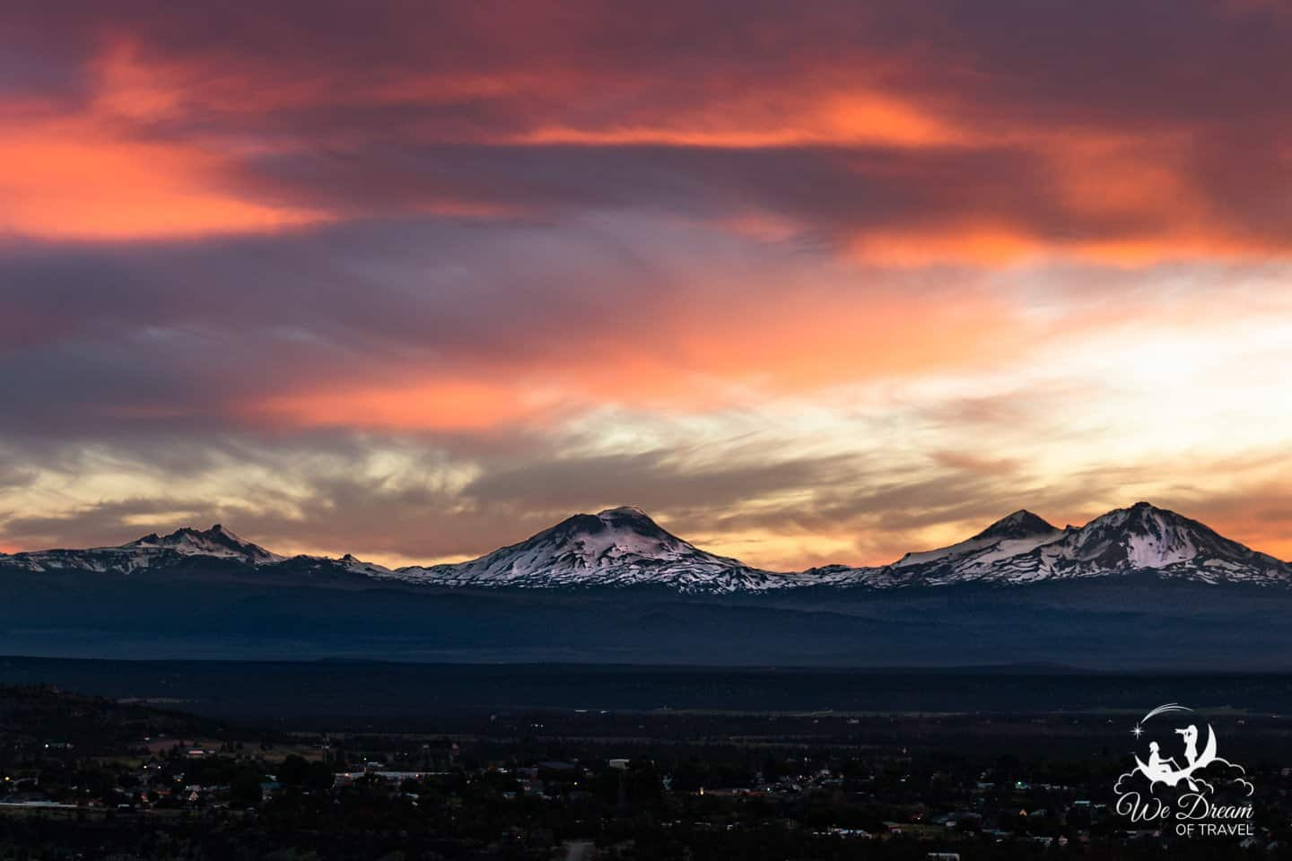 Sunset over the Three Sisters mountain on a visit to Central Oregon