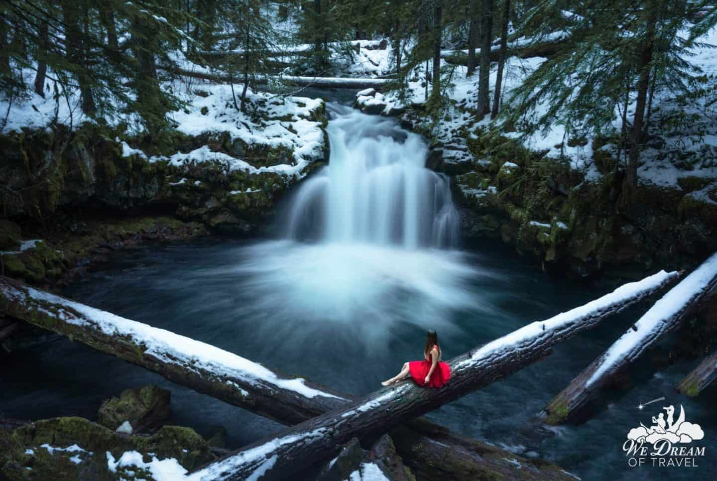 Sophie adds a pop of color and magic to the beautiful scenery at Whitehorse Falls, Oregon.
