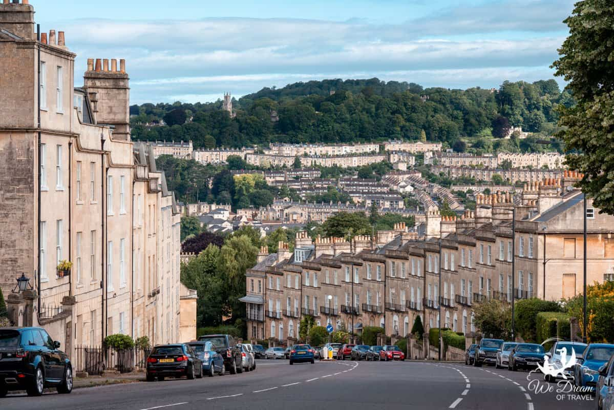Honey-hued homes built from local stone in Bath, Somerset, England