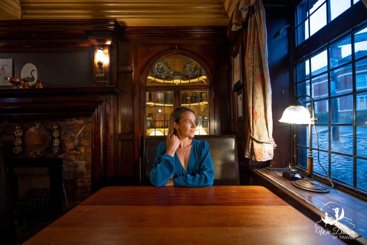 A girl inside a pub in York.