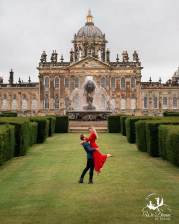A couple in front of Castle Howard, a great day trip from York England