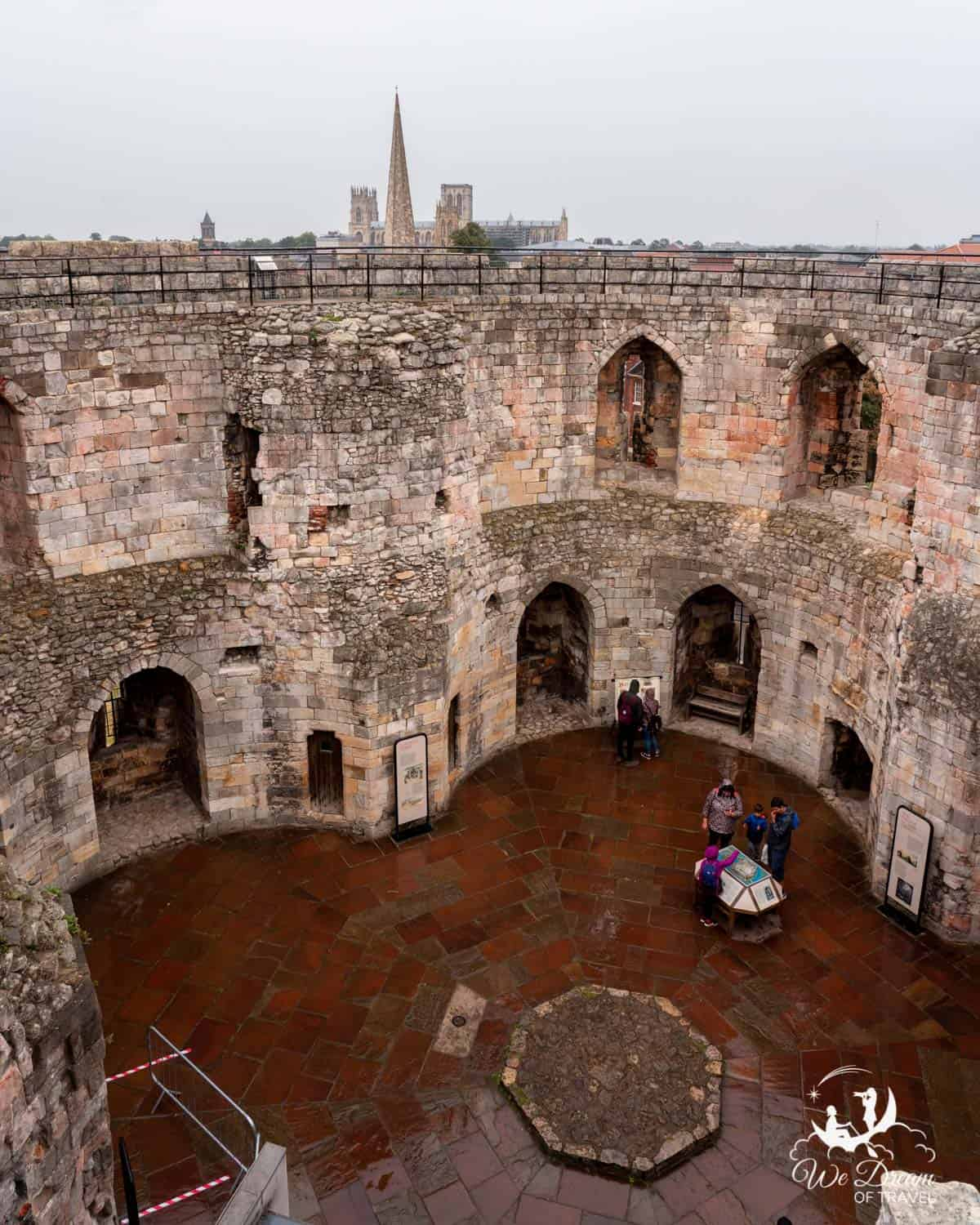 The interior of the ruined Clifford tower in York England