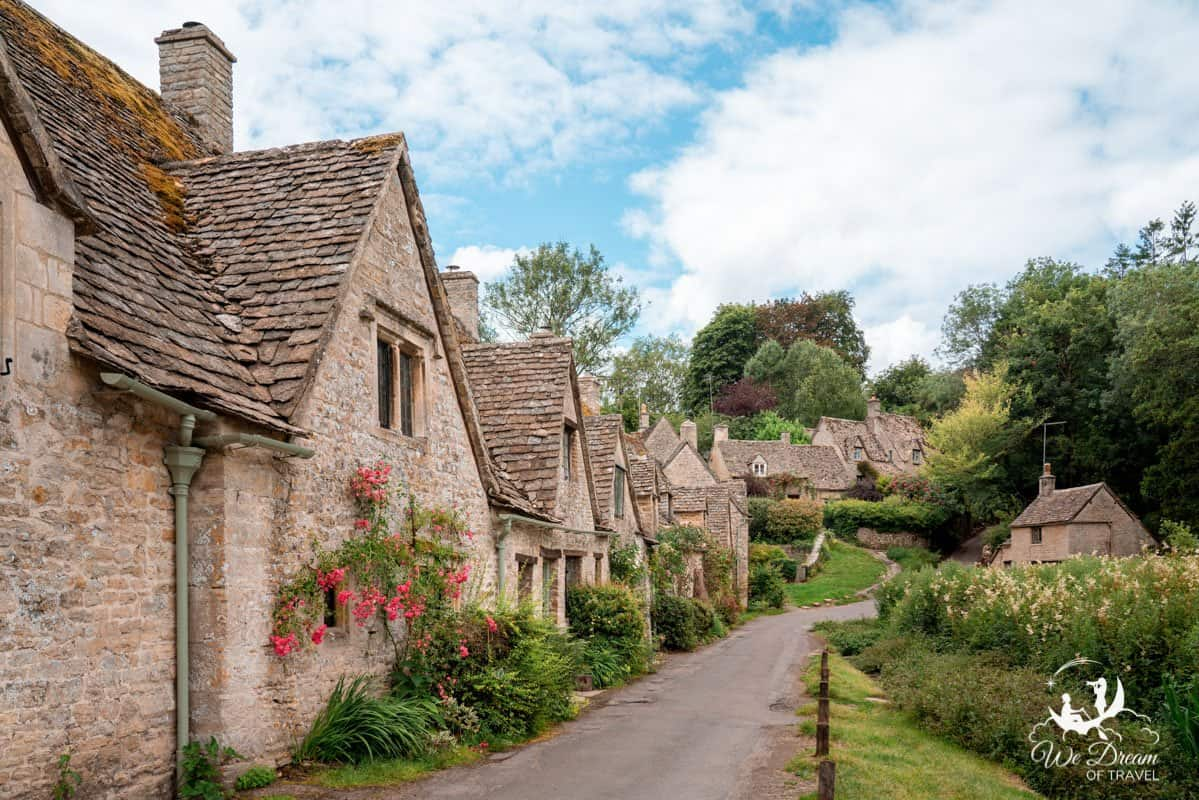 Arlington Row, Bibury village in the Cotswolds during the summer