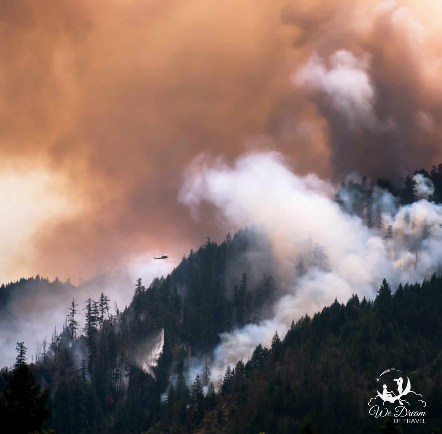 Fire crews drop water on a forest fire in Oregon.