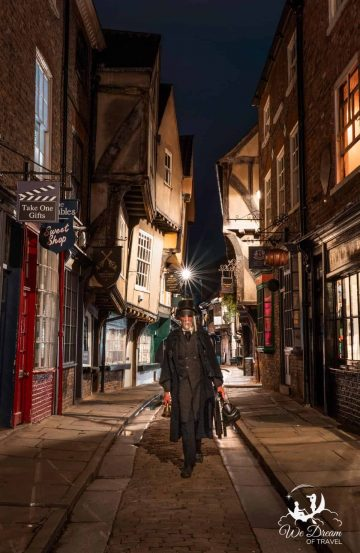 One of the ghost tour guides on the Shambles.