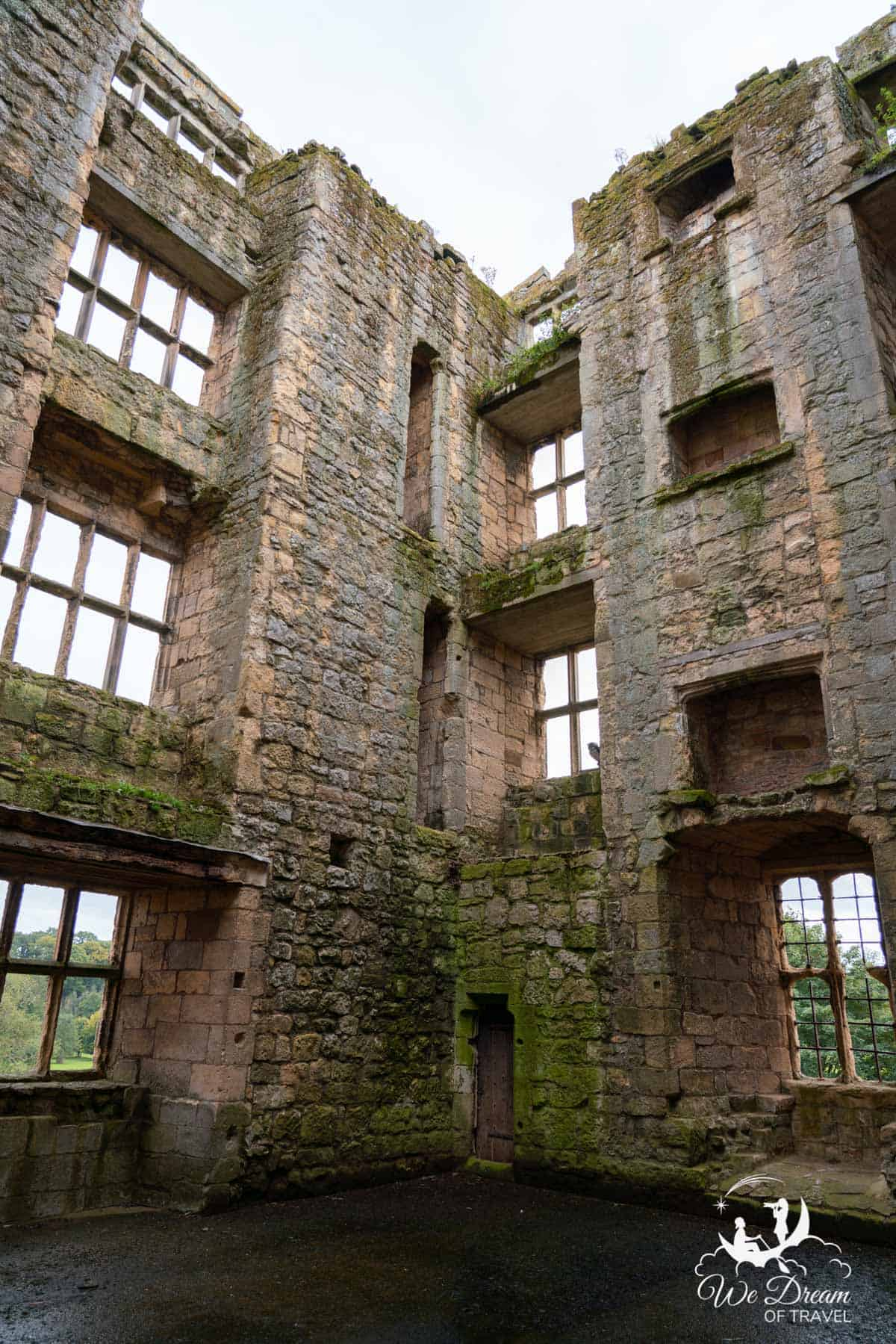 The inside of the tower of Helmsley Castle York